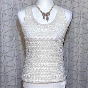 F21 WHITE Crochet Sleeveless Knit Top